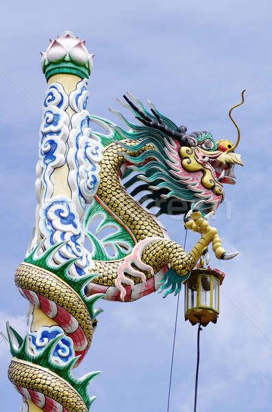 Ejderha Çin tapınak mavi gökyüzü gökyüzü seyahat Stok fotoğraf © beemanja