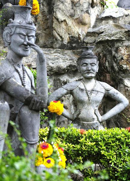 Heykel Taylandlı tapınak mutlu ibadet dua Stok fotoğraf © beemanja