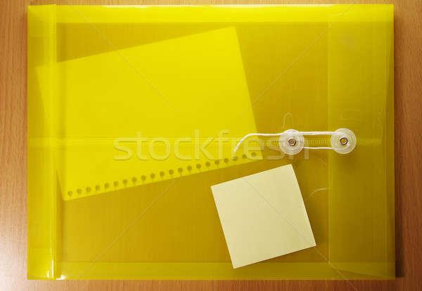 Sarı zarf belge boş kağıt arka plan posta Stok fotoğraf © beemanja