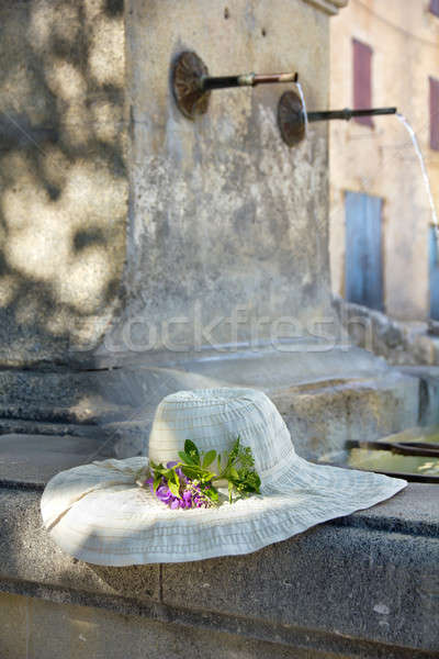 Sunhat with real flower on a Provencal fountain in Porvence, Fra Stock photo © belahoche