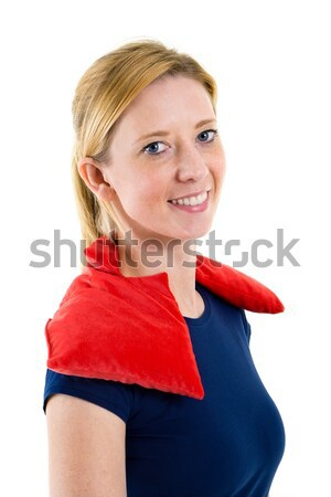 Woman Relaxing with Hot Cold Pack on Shoulders Stock photo © belahoche