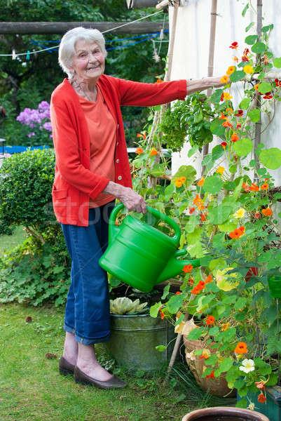 Yaşlı kadın bahçe sulama tam uzunlukta gülen Stok fotoğraf © belahoche
