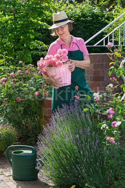 Altos de trabajo jardín cute sonriendo jardinero Foto stock © belahoche