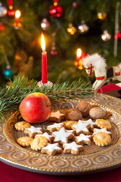 Noël décorations table rouge nappe plaque Photo stock © belahoche