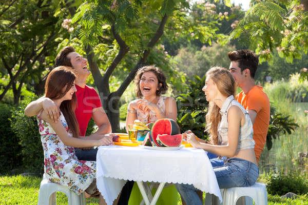 Insanlar piknik tadını çıkarmak gün park Stok fotoğraf © belahoche