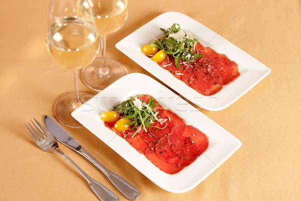 Schotel ruw rundvlees vlees ingericht Stockfoto © belahoche