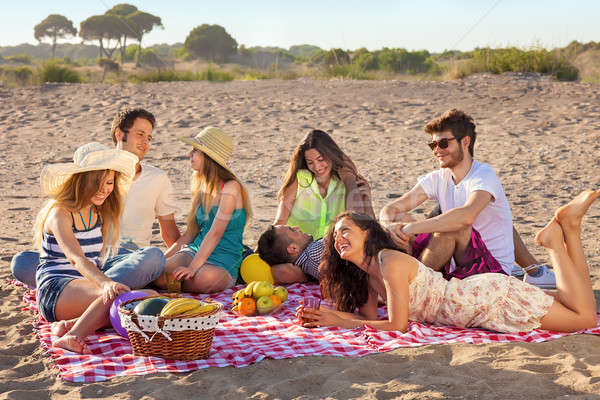 Young party people having enjoyable picnic on the beach Stock photo © belahoche