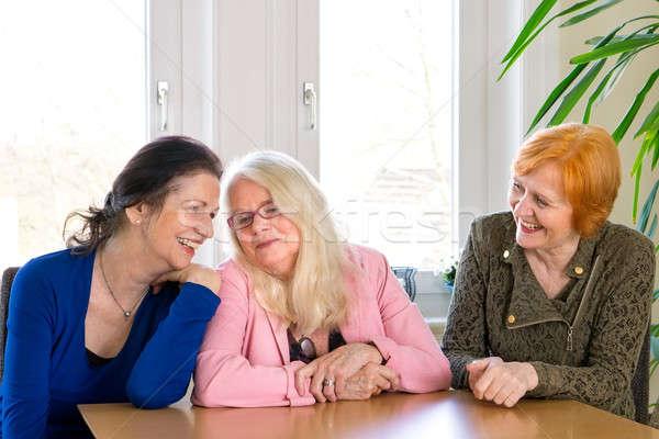 Boldog felnőtt női barátok ül étkezőasztal Stock fotó © belahoche
