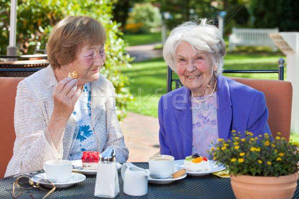 Alegre edad mujeres relajante jardín mesa Foto stock © belahoche