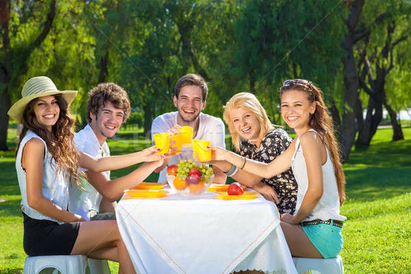 Happy group of teenagers raising a toast Stock photo © belahoche