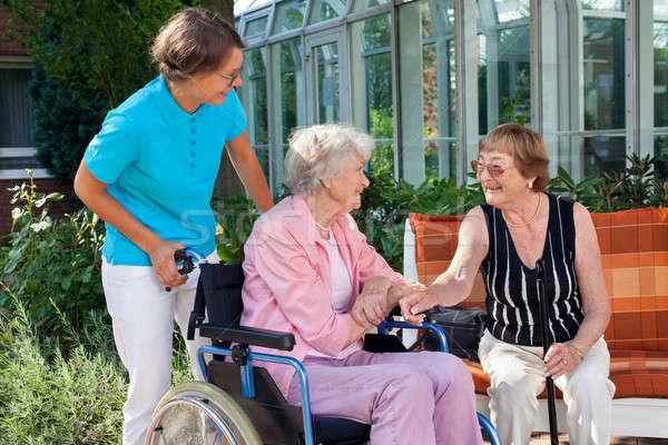 Idős hölgy gondozó beszél barát ül Stock fotó © belahoche