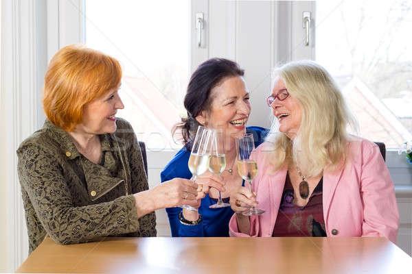 Happy Mom Friends Enjoying Glasses of Wine Stock photo © belahoche