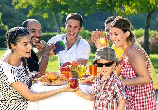 Multiethnic group of friends Stock photo © belahoche