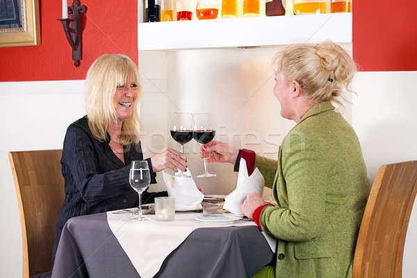 Two female friends enjoy a relaxing drink Stock photo © belahoche