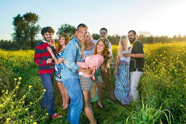 четыре счастливым молодые пары вечеринка Сток-фото © belahoche