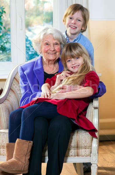 Grandmother with Two Children Having Fun Stock photo © belahoche
