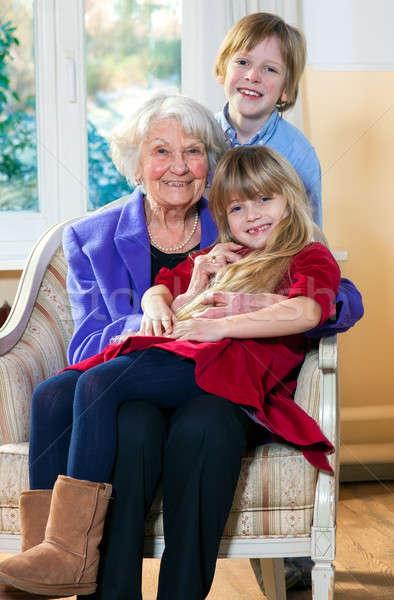 Büyükanne iki çocuklar aile Stok fotoğraf © belahoche