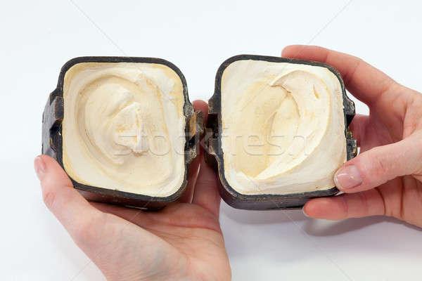 Negative orecchio forma intonaco pronto silicone Foto d'archivio © belahoche