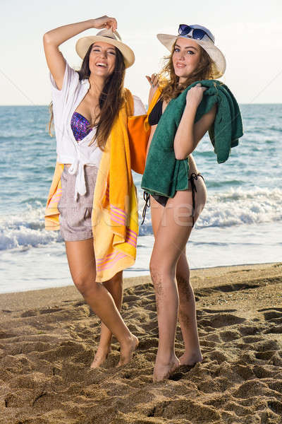 Girls in Summer Clothing at the Beach Stock photo © belahoche