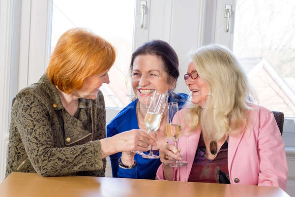 Happy Middle Age Moms Tossing Glasses of Wine Stock photo © belahoche