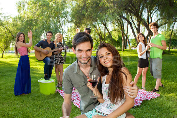 Affectionate young teenage couple Stock photo © belahoche