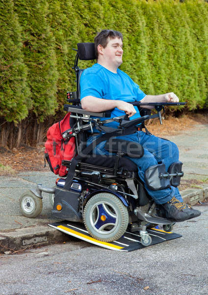 Young male infantile cerebral palsy sufferer Stock photo © belahoche