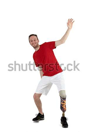 Male prosthesis wearer demonstrating balance Stock photo © belahoche