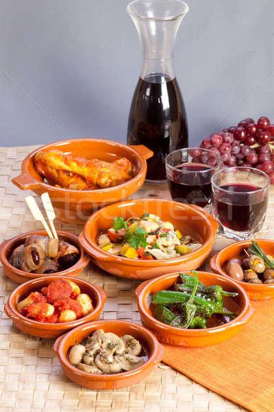 Gyűjtemény tapas ételek datolya szalonna vaj Stock fotó © belahoche