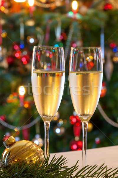 Christmas composition with champagne. Stock photo © belahoche