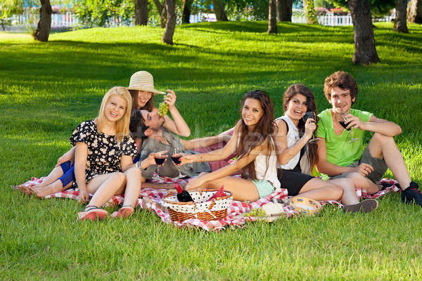 Young teenage friends picnicking in the park Stock photo © belahoche