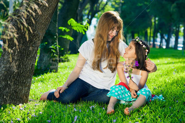 Loving mother and her little daughter in a garden Stock photo © belahoche