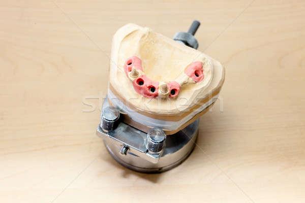 Készít fogászati orális izolált fa asztal munka Stock fotó © belahoche