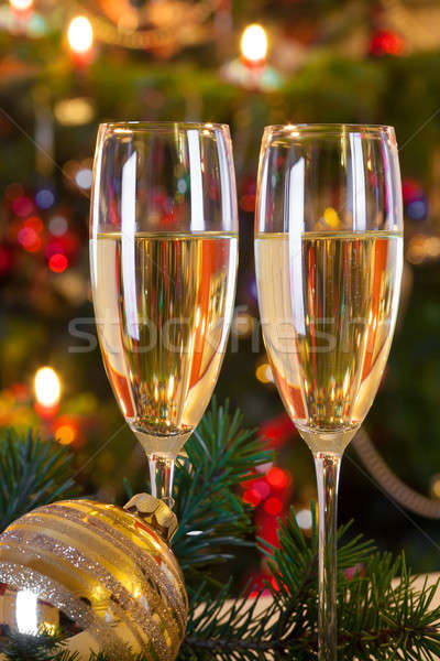 Noël still life champagne or balle sapin Photo stock © belahoche