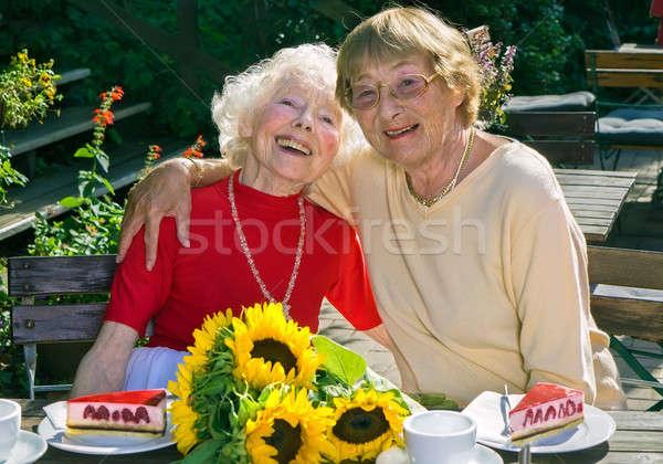 Iki yaşlı kadınlar emeklilik çay Stok fotoğraf © belahoche