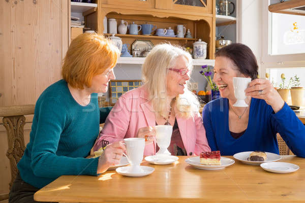 Cool Middle Age Female Friends Having Snacks Stock photo © belahoche