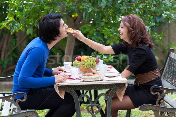 Mutlu çift iyi zaman kız gıda Stok fotoğraf © belahoche