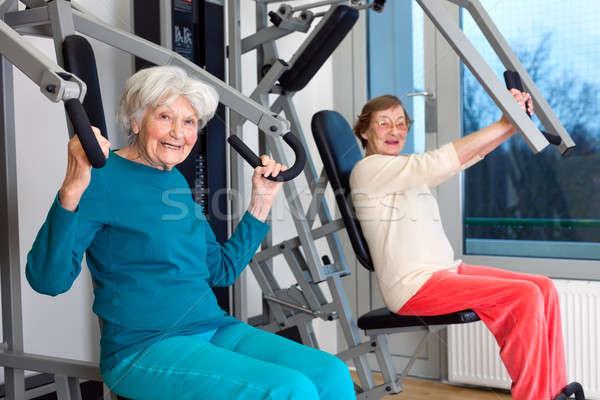 Gelukkig ouderen vrouwen gymnasium fitness Stockfoto © belahoche