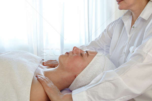 Woman In Spa With Therapsist Stock photo © belahoche