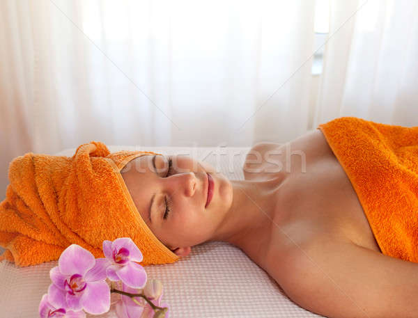 Enjoying a relaxing spa treatment Stock photo © belahoche