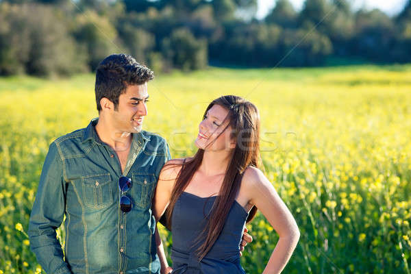 Attractive couple walking in the countryside Stock photo © belahoche