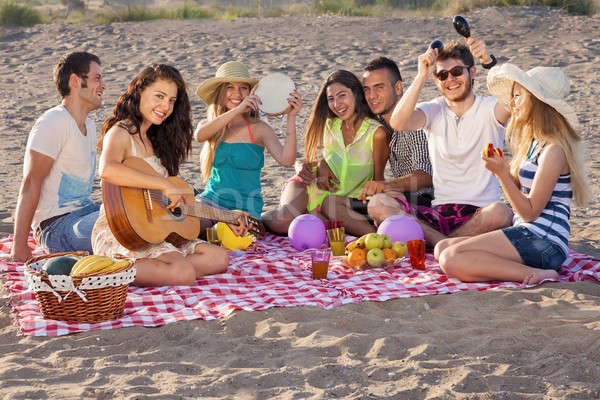 Group of happy young people having a picnic on the beach Stock photo © belahoche