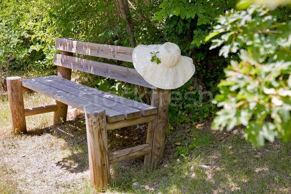 Sunhat on a wooden garden bench. Stock photo © belahoche