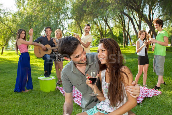 Young couple enjoying a picnic with friends Stock photo © belahoche