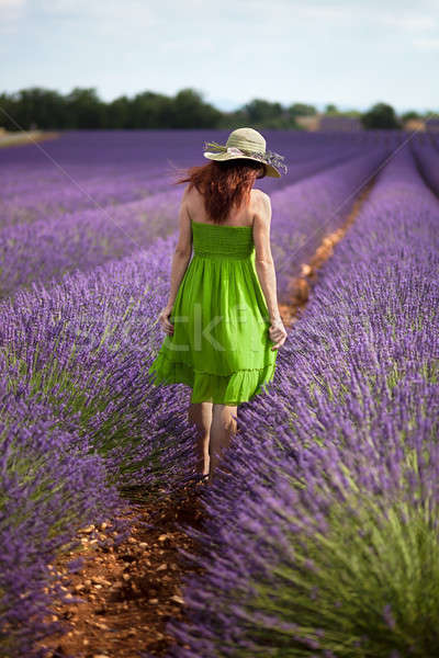 Lady walking in lavender field, wearing green dress and nostalgi Stock photo © belahoche