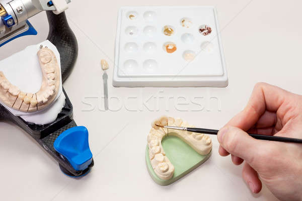 Making Facial Dental Prosthetic Stock photo © belahoche