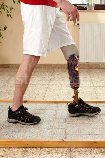Prosthesis wearer training on diverse surfaces Stock photo © belahoche
