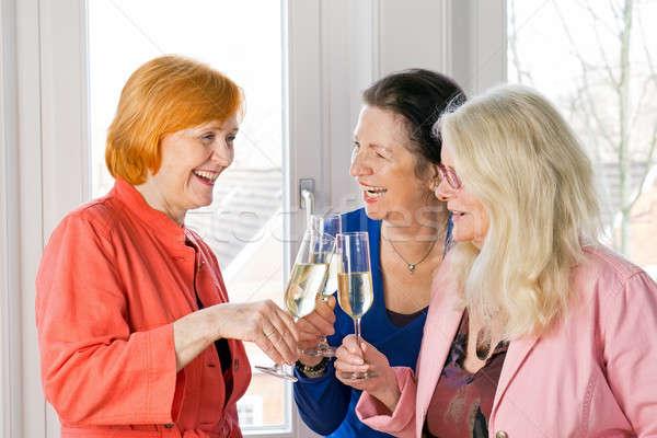 Gelukkig volwassen vrouwen vrienden bril wijn Stockfoto © belahoche