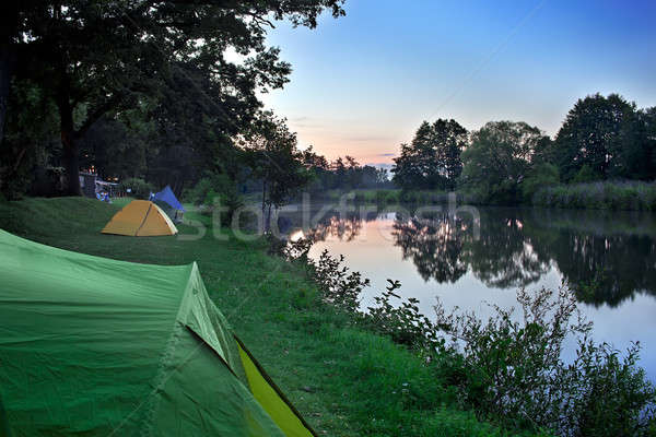 Sunset At The Campsite. Stock photo © belahoche