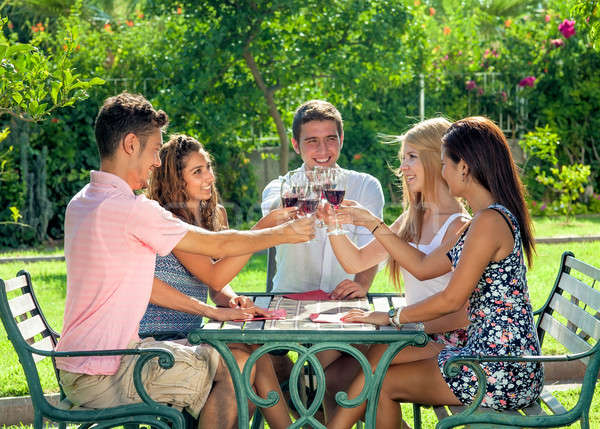Group of teenage friends enjoying a drink together Stock photo © belahoche