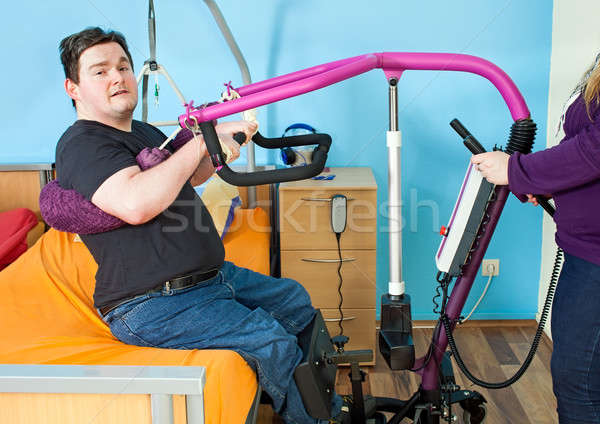 Stock photo: Young man with infantile cerebral palsy